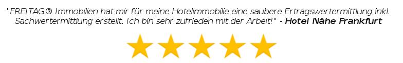 FREITAG Immobilien hat mir für meine Hotelimmobilie eine saubere Ertragswertermittlung inkl. Sachwertermittlung erstellt. Ich bin sehr zufrieden mit der Arbeit - Hotel Nähe Frankfurt